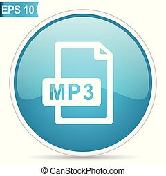 Mp3 file blue glossy round vector icon in eps 10. Editable modern design internet button on white background.