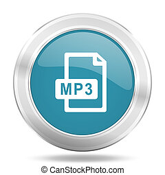 mp3 file icon, blue round glossy metallic button, web and mobile app design illustration