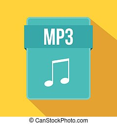 MP3 file icon, flat style