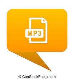 mp3 file orange bulb web icon isolated.