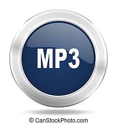 mp3 icon, dark blue round metallic internet button, web and mobile app illustration