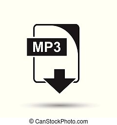MP3 icon. Flat vector illustration. MP3 download sign symbol with shadow on white background.