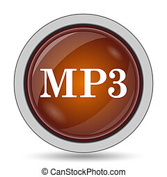 MP3 icon, orange website button on white background.