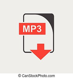 MP3 Icon vector flat