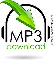 mp3, ladda ner, vektor, symbol