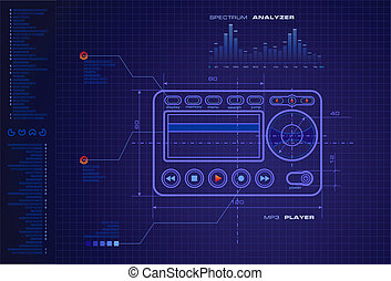MP3 Media Player Blueprint vector