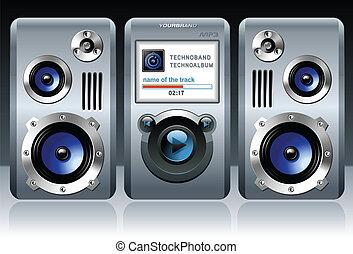 mp3, musica, media, giocatore, stereo