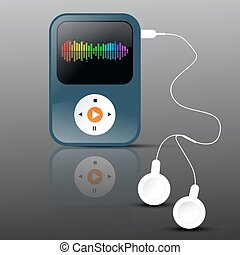 MP3 Player. Abstract Vector mp3 Player with Headphones and Frequency Graph on Display.