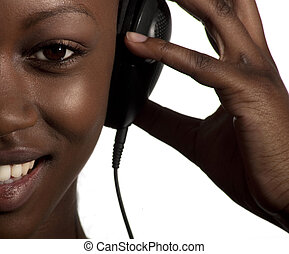 mp3 player - girl listening to music looking happy in her...