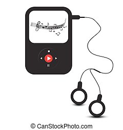 MP3 Player Icon. Vector Retro mp3 Device with Headphones and Music Staff on Screen.