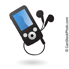 Mp3 player isolated - Illustration of simple mp3 player with...
