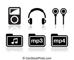 Mp3 player vector icons set - Electrion device - mp3 player...