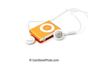 mp3 player with earphones isolated on white