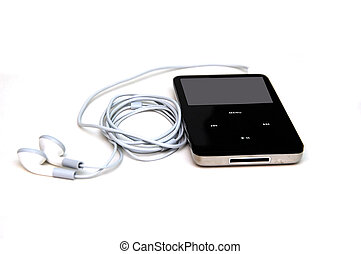 Mp3 player with headphones - A side view of a mp3 player ...