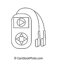 Mp3 player with headphones icon, outline style