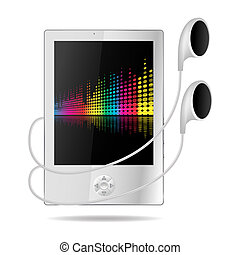 mp3 player with musical background on screen