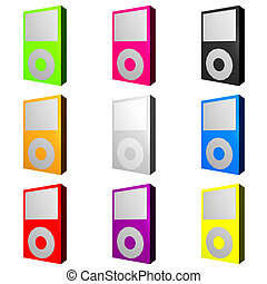 Mp3 players in displayed in various trendy colors