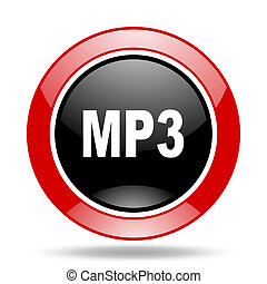 mp3 red and black web glossy round icon