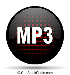 mp3 red glossy web icon