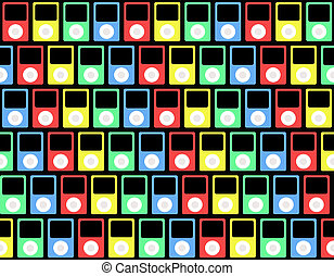 Colorful wallpaper pattern consisting of MP3 Player Icons