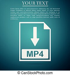 mp4, bestand, document, icon., downloaden, mp4, knoop, pictogram, vrijstaand, op, blauwe , achtergrond., plat, design., vector, illustratie