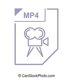 MP4 file icon, cartoon style