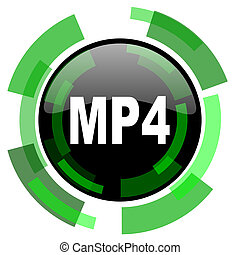 mp4 icon, green modern design isolated button, web and mobile app design illustration