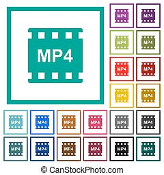 mp4 movie format flat color icons with quadrant frames on...