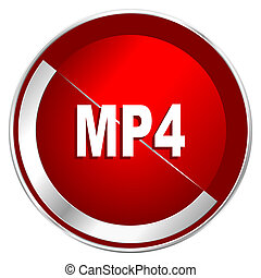 MP4 red web icon. Metal shine silver chrome border round button isolated on white background. Circle modern design abstract sign for smartphone applications.