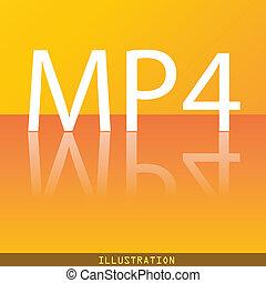 mpeg4, 视频, 格式, 图标, 符号, 套间, 现代, 网络设计, 带, 反映, 同时,, 空间, 为, 你, text., ., raster