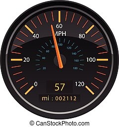 MPH Miles per Hour Speedometer Odometer Automotive Dashboard...