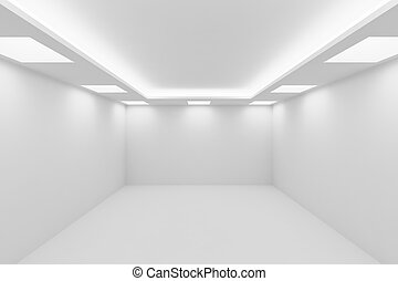 ?mpty white room with square ceiling lights.