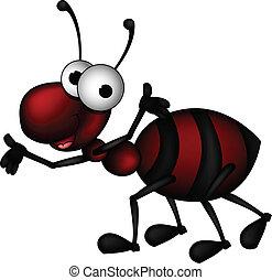 mrówka, rysunek, czerwony