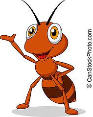 mrówka, sprytny, falować, rysunek