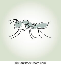 mrówka, styl, wektor, kreska, minimalny