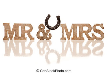 Mr and Mrs block sign with horse shoe