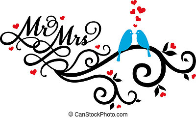 Mr and Mrs, wedding birds on swirl with red hearts, vector illustration