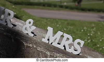 MR and MRS white letters marriage, calligraphy, illustration...