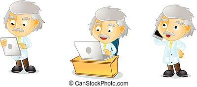 Mr Genius with laptop mascot