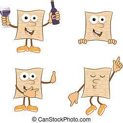 Mr Matzah - Cute set of 4 cartoon matzah. Eps10