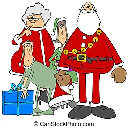 Mr. & Mrs. Claus with two elves