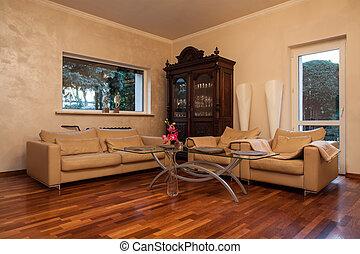 mračný, domů, -, obývací pokoj celodenní