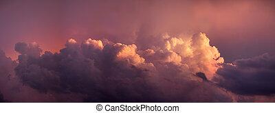 mračno, překrásný, západ slunce, červeň, -, nebe, městská silueta, panoráma