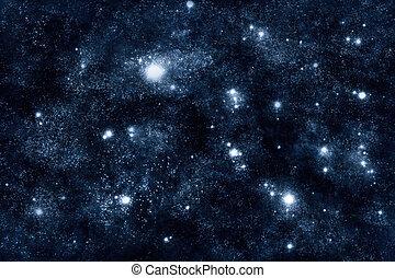 mračno, zlatý hřeb, proložit, vesmír, podoba, mlhovina, -, hlubina, abstraktní, grafické pozadí, starfield