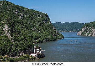 Mraconia Monastery - Danube gorge, Danube in Djerdap (Iron gates) national park, Serbia, Romania