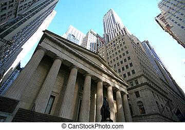 mrakodrapy, klasický, val, -, ulice, york, čerstvý, manhattan