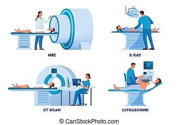 MRI and X-Ray scanner, Ultrasound and CT skan. Doctor and patient on medical examination. Modern hospital diagnostic equipment. Health care concept. Vector illustration set in cartoon style
