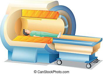 MRI - Illustration showing the magnetic resonance imaging