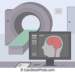 Radiologic room with a computer tomograph. MRI / CT diagnostic scanner and monitor to scan the human brain on the screen. Vector illustration.