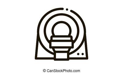 Mri Diagnosis Apparatus Icon Animation. black Mri Diagnosis Apparatus animated icon on white background